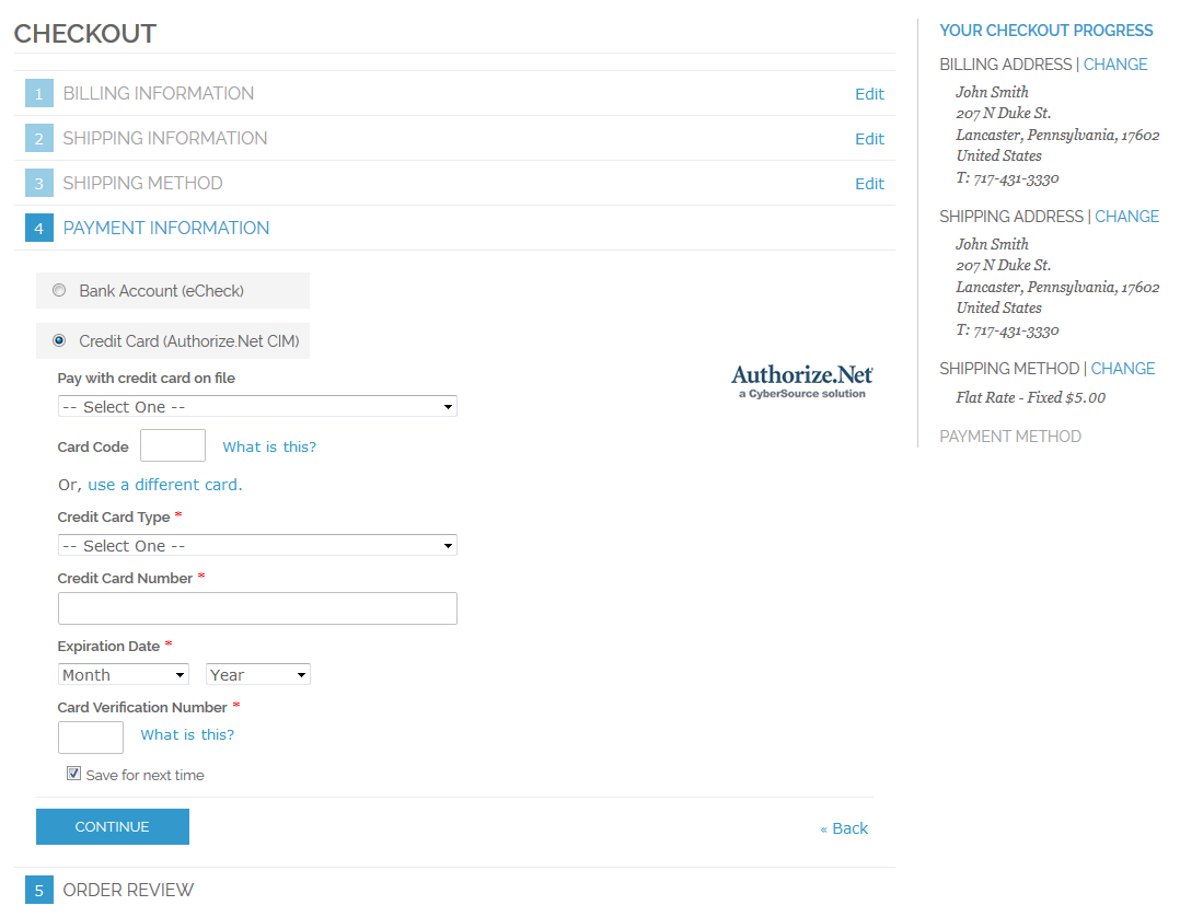 authorize net cim payment module screenshots