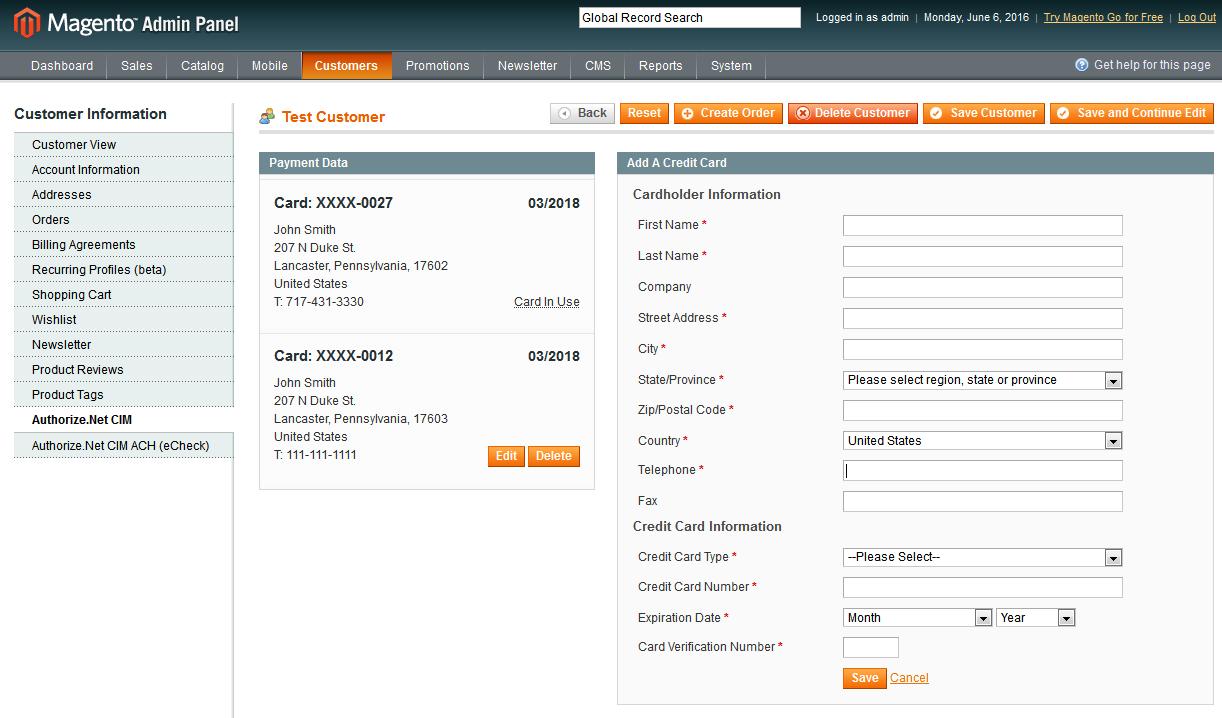 Authorize Net CIM for Magento 1