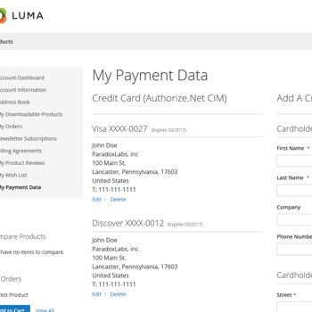 Authorize.Net CIM card management