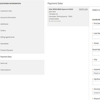 Magento2 Stripe allows admin card management